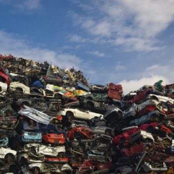 A lot of used cars in the junkyard